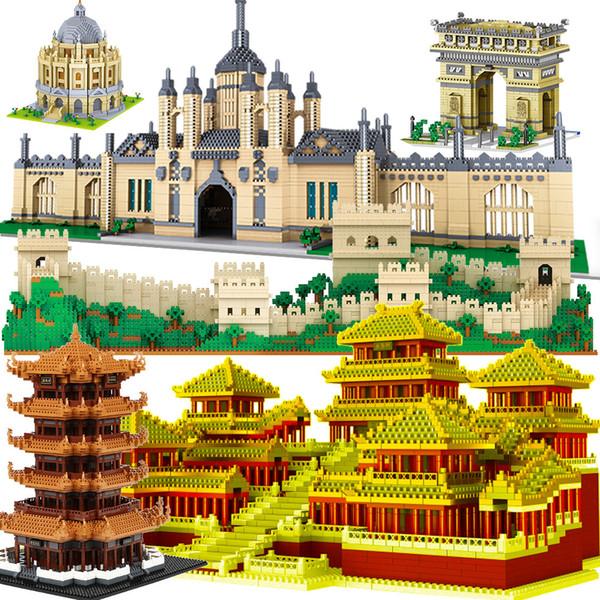 best selling Mini micro block Oxford taj mahal Diamond building Great Wall China architecture University Cambridge London Paris Eiffel tower Q1126