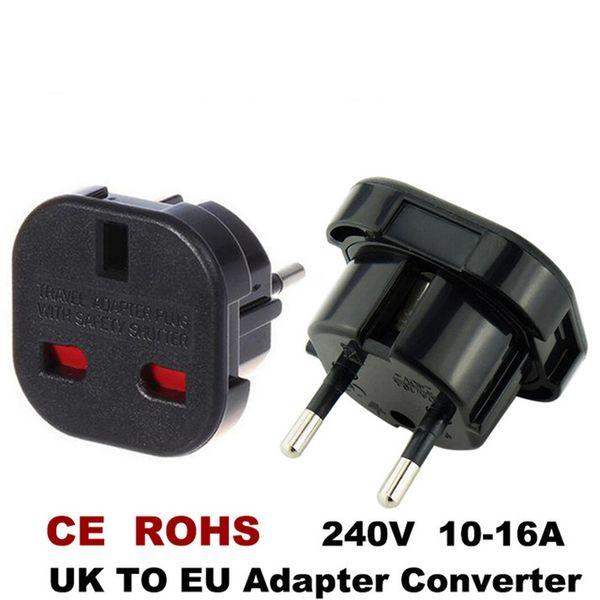 top popular Consumer Electronics New Travel UK To EU 240V Adapters High Quality Euro Plug AC Power Charger Adapter Converter Socket Black Mayitr 2021