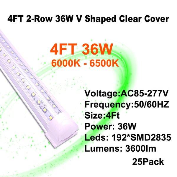 4 피트 36W 클리어 커버 V - 모양의 LED 튜브