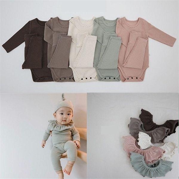 top popular 4pcs Set Dot Bodysuits+Pants+Cap+Bib Boy Clothing Sets 0-24M Baby Girl Clothes Unisex Newborn Cotton Autumn Costume Outfits C1118 2021