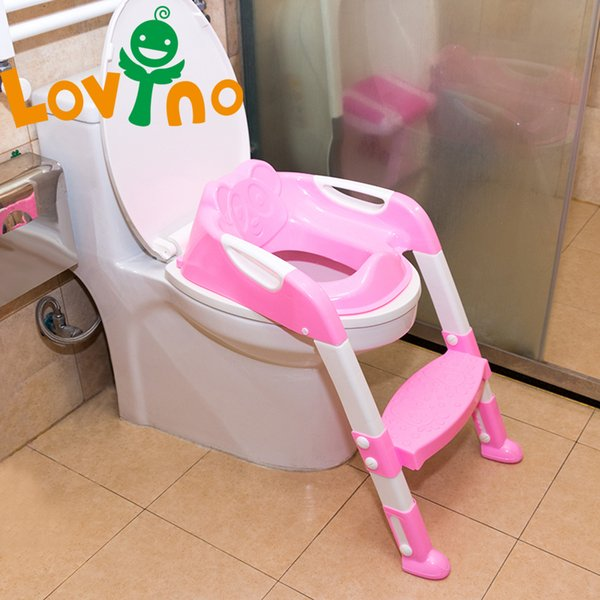 top popular 2 Colors Baby Potty Training Seat Children's Potty Baby Toilet Seat With Adjustable Ladder Infant Toilet Training Folding Seat LJ201110 2021