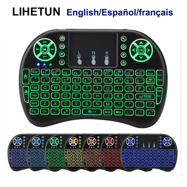 top popular I8 Wireless Mini Keyboard 7 Backlight 2.4GHz Fly Air Mouse lithium-ion battery Remote Control English Spanish French For Android TV Box PC 2021