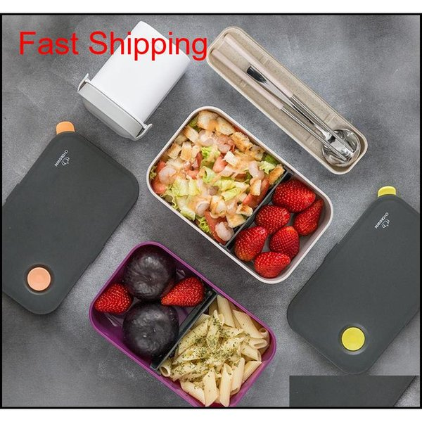 top popular Natural Bamboo Fiber Material Lunch Box Japanese Style Leak-proof Bento Box Student Office Afternoon Tea Desser qylswL bdetoys 2021