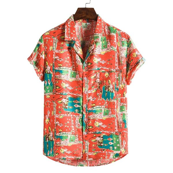 top popular hot-sell high quality In Stock Men Short Sleeve Digital Printed Casual red Beach Aloha Hawaiian Shirts 2021