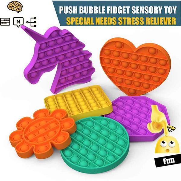 top popular US Stock Pops It Party Favor Push Bubble Fidget Sensory Toy Stress Reliever Toys Adult Kid Funny Antistress Squishy Jouet Pour Autiste 2021