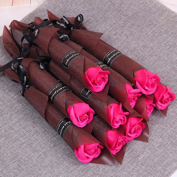 best selling Single Stem Artificial Rose Romantic Valentine Day Wedding Birthday Party Soap Rose Flower Red Pink Blue BWF3590