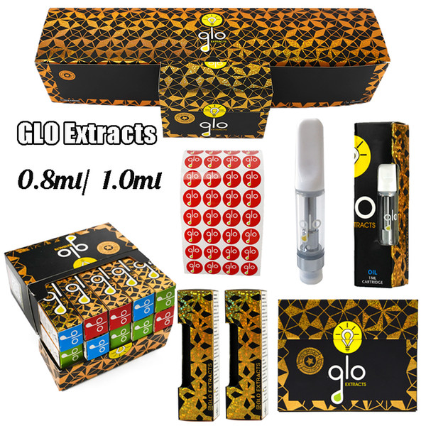top popular New Glo Extracts Vape Cartridge Packaging 0.8ml 1.0ml Ceramic carts Dab Pen Wax Vaporizer With QR Code Empty Disposable E Cigarettes 2021