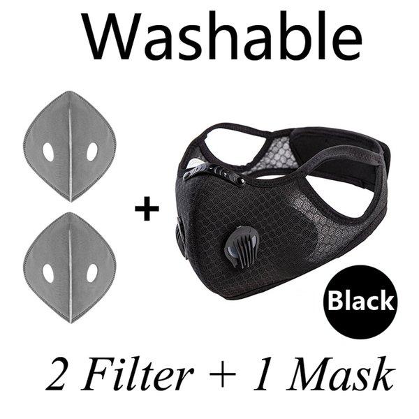 1pcs masque de visage noir + filtres 2pcs