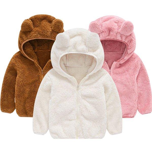 best selling Autumn and winter fleece wool coat children's clothing boy girl weaters Adorable bear ears sturdy hoodie baby Hairy zipper coat Q1123