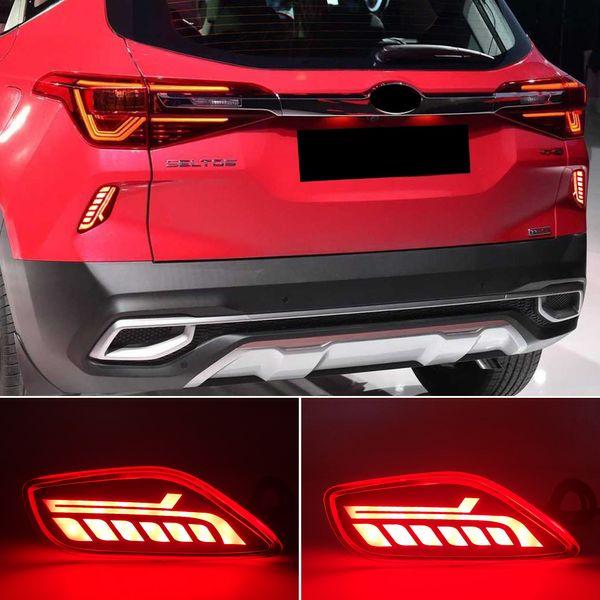 top popular 1Pair For Kia Seltos 2019 2020 2021 Car LED Reflector Tail Light Rear Bumper Light Rear Fog Lamp Brake Light 2021