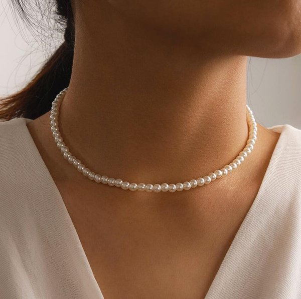 best selling 20pc Elegant White Imitation Pearl Choker Necklace Big Round Pearl Wedding Necklace for Women Charm Fashion Jewelry