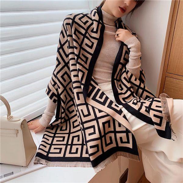 top popular 2020 Luxury Winter Scarf Women Shawl Lady Wraps Design Print Warm Blanket Female Neck Scarves Thick Stoles 2021