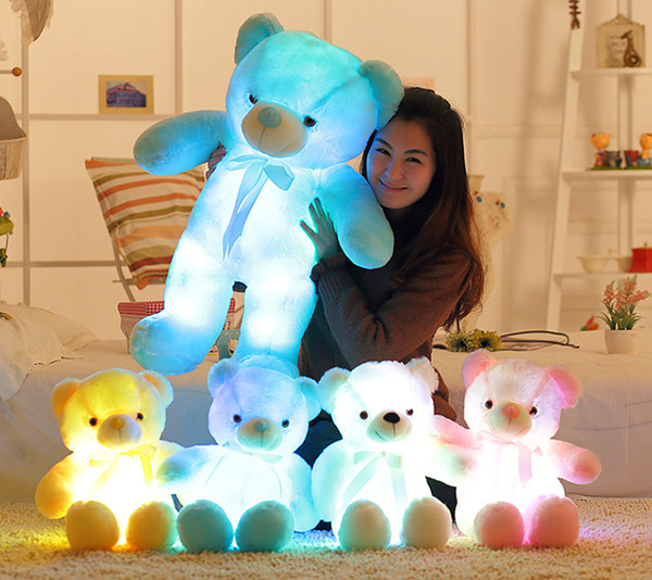 best selling 30cm 50cm bow tie teddy bear luminous bear doll with built-in led colorful light luminous function Valentine's day gift plush toy