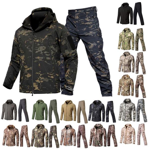 top popular Outdoor Woodland Hunting Shooting Clothing Tactical Camo Coat Combat Clothing Camouflage Windbreaker Softshell Outdoor Jacket Pants Set 2021