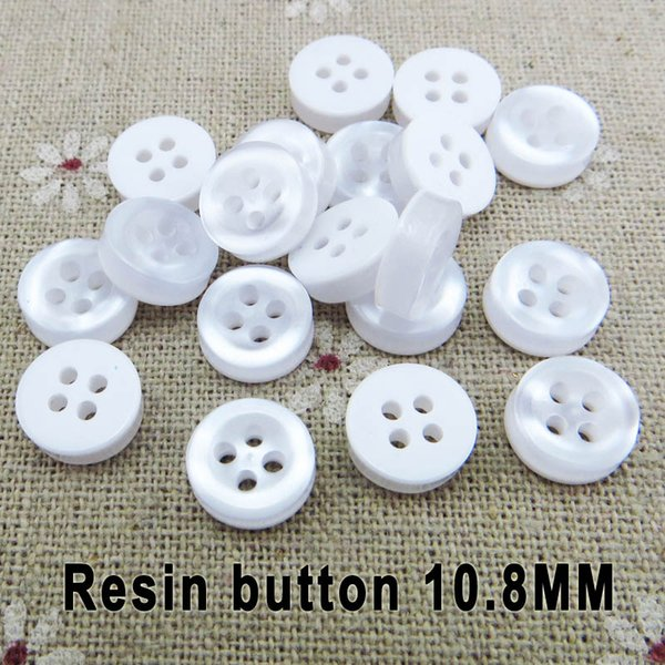 top popular 500PCS 10.8MM 4 hole white classic shirt buttons coat sewing clothes accessory child plastic button r-301 2021
