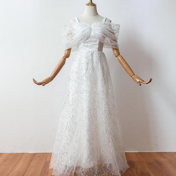 New Elegent Women Summer Party Sweetheart Floor-length A-line Sequin Vintage Long Navy White Cocktail Dresses Cocktail Dress