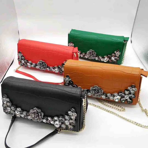 best selling 2015Fashion classic lady metal chain bag high-grade shoulder diagonal leather bag leather embroidery thread handbag