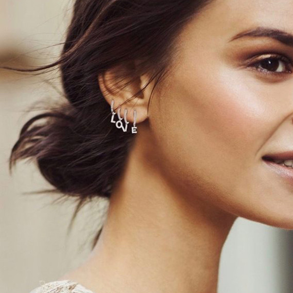 best selling 1 Piece Gold Silver Color Clear Cz 26 Initial Charm Circle Dangle Drop Earring Name Letter Alphabet Earrings for Women Girls