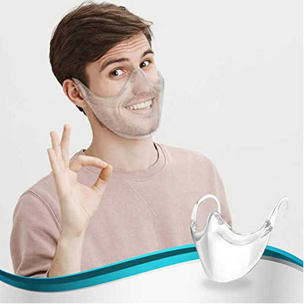 top popular Transparent Protective Mask Anti-fog Face Shield Deaf-mute Lip Language Masks for Women Men Mouth Cover DHL Free 2021