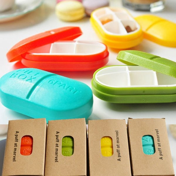 top popular Elliptical Pill Cases Pill Box Pocket Small case Holder Weekly 6 Compartments Medicine Pill Organizer MY-inf0180 2021