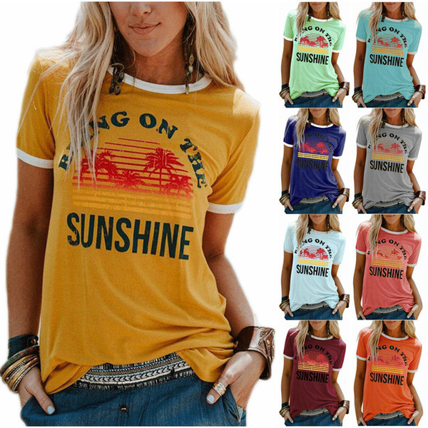 top popular Womens Bring On The Sunshine Print Crew Neck T-shirt Summer Casual Short Sleeve Multiple Colour Tees For Women 2021