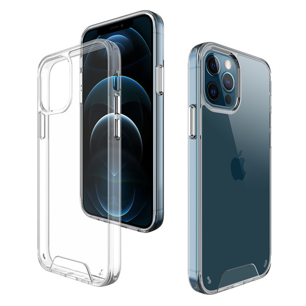 top popular Premium Space Transparent Rugged Clear TPU PC Shockproof Hard Case for iPhone 12 Mini 11 Pro Max XR XS 6 7 8 Plus 2021