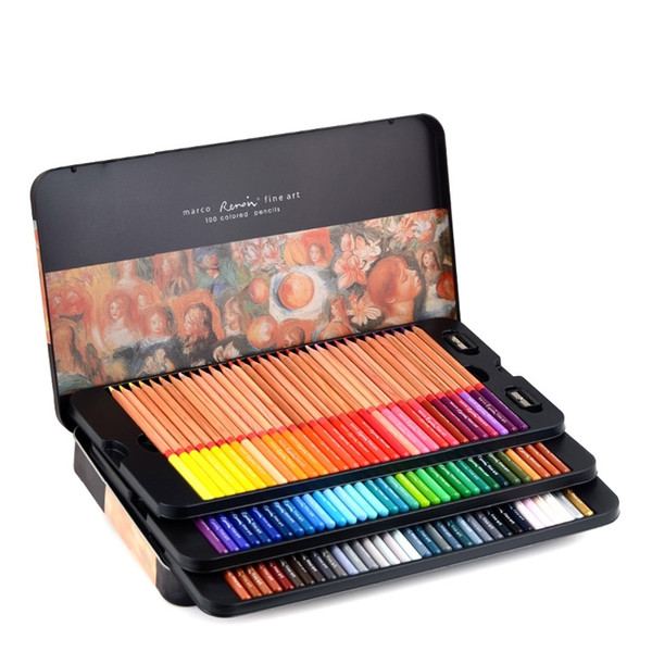 best selling Marco Renoir 3100 Oil Colored Pencils Drawing Sketches Pencil 24 36 48 72 100 120 Colour Art Painting Pencil School Supplies Y200428