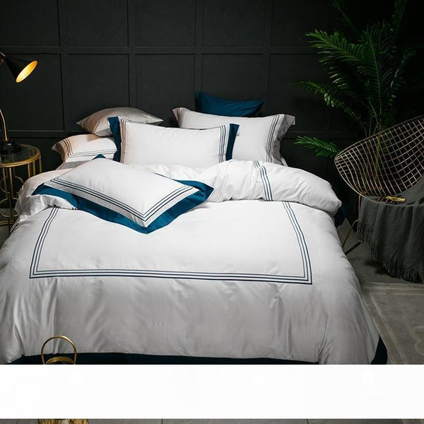 top popular 5-star Hotel White Luxury 100% Egyptian Cotton Bedding Sets Full Queen King Size Duvet Cover Bed Flat Sheet Fitted Sheet Set 2021