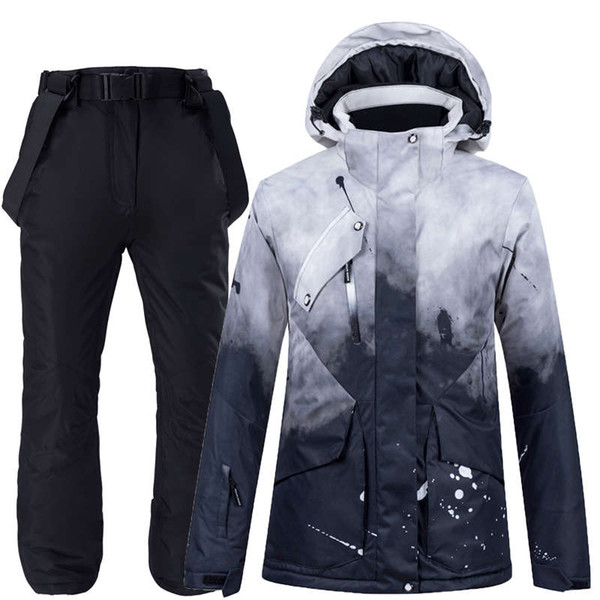 best selling -30 Fashion Men and Women Snow Wear Clothing Snowboarding Suit Sets Waterproof Windproof Winter Costume Ski Jacket + Strap Pant