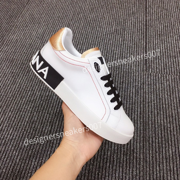 the new Man Shoes Fashion Women Shoes Men's Leather Lace Up Platform Oversized Sole Sneakers White Black Casual Shoes hc200702
