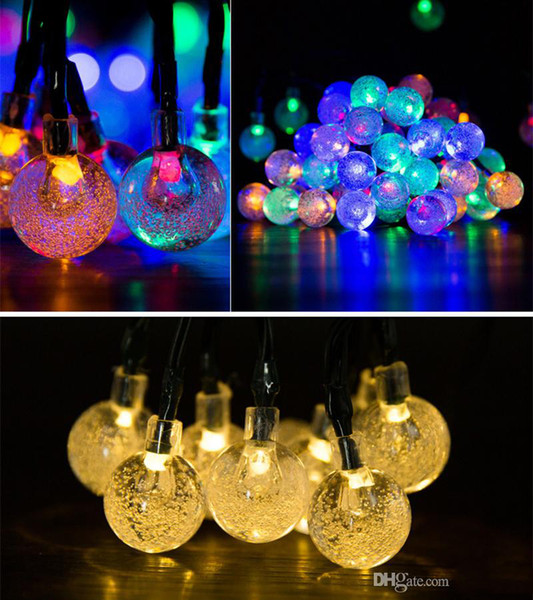 top popular Solar Powered LED String Lights 30 Bulbs Waterproof Crystal Ball Christmas String Camping Outdoor Lighting Garden Holiday Party 8 Modes 6.5m 2021
