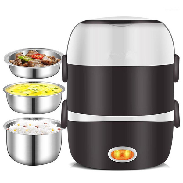 top popular 220V Mini Electric Rice Cooker 2 3 Layers Available Steamer Stainless Steel Inner Portable Meal Thermal Heating Lunch Box1 2021