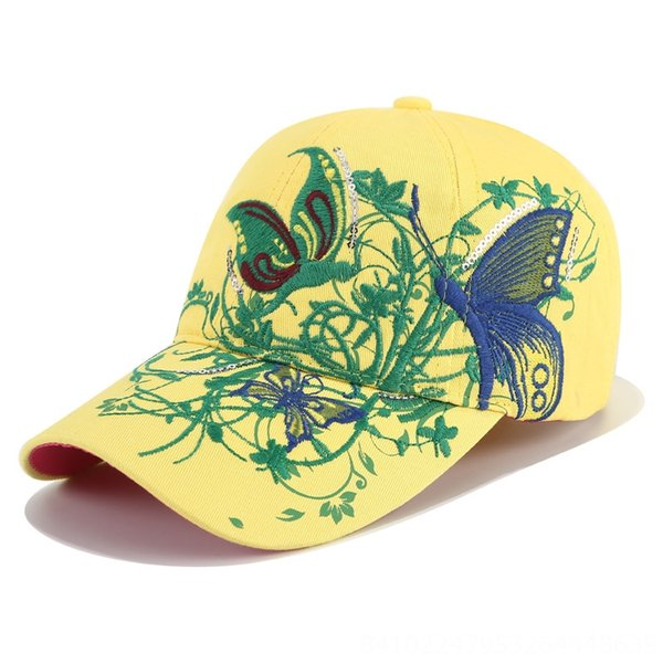Helle gelbe und grüne Stickerei