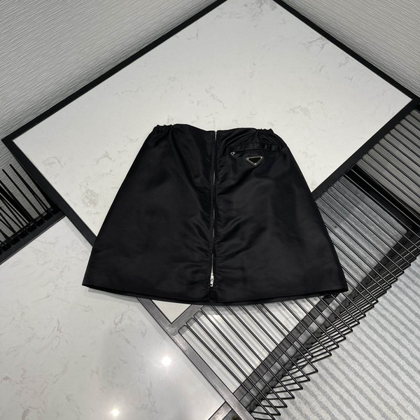 top popular 21SS New Women Skirts Fashion Matching Nylon Inverted Triangle Style Trendy Women Sexy Short Dresses High Quality Black Color Size S-L 2021