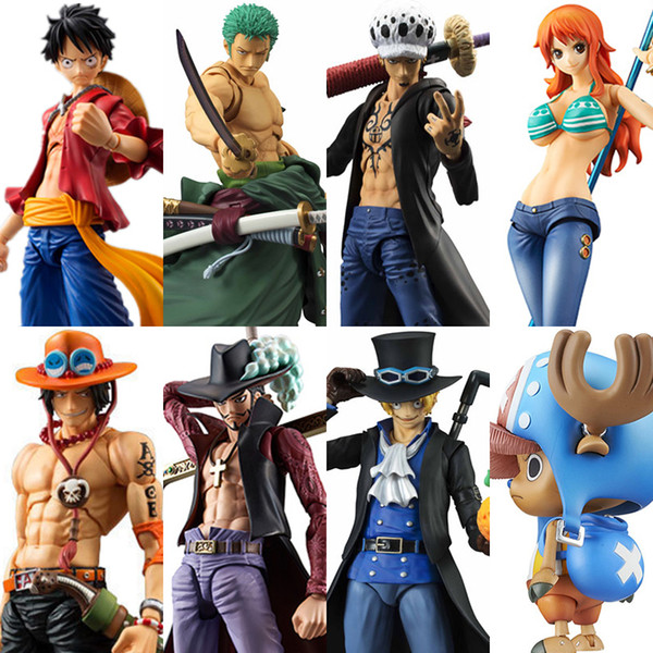 best selling MegaHouse Variable Action Heroes One Piece Luffy Ace Zoro Sabo Law Nami Dracule Mihawk PVC Action Figure Collectible Model Toy X0121