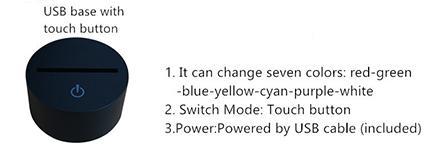 Base USB con botón táctil