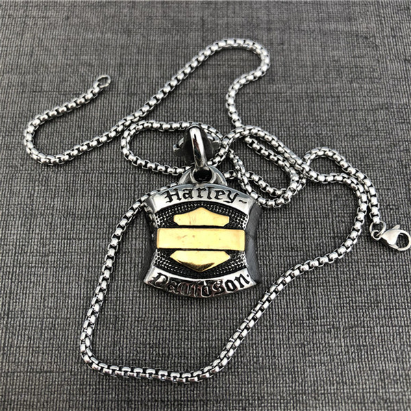 top popular Motorcycles Biker Style Necklace 316L Stainless Steel Jewelry Popular Gold Silver Biker Men Boys Pendant With Chain 2021