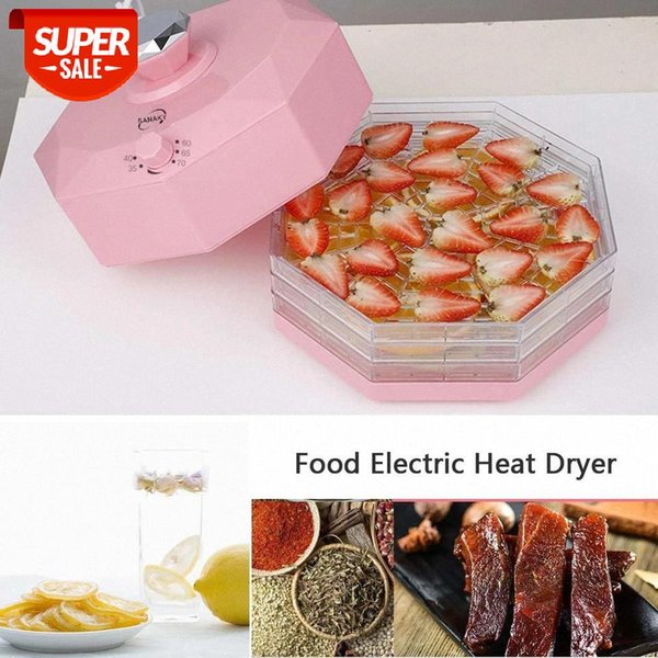 top popular NEW 5 Trays 220V 250W Dried Fruit Vegetables Herb Meat Machine Household MINI Food Dehydrator Pet Meat Dehydrated 8 Gear #OX9X 2021