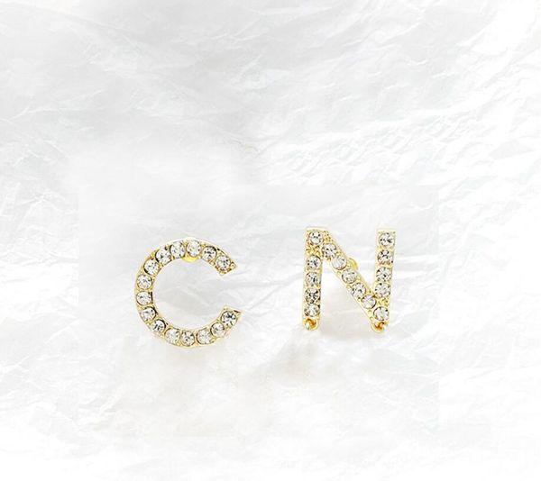 best selling New Full Rhinestone Full Pearl Letter Tassel Earrings For Women Fashion Asymmetric Stud Earring Jewelry Gifts