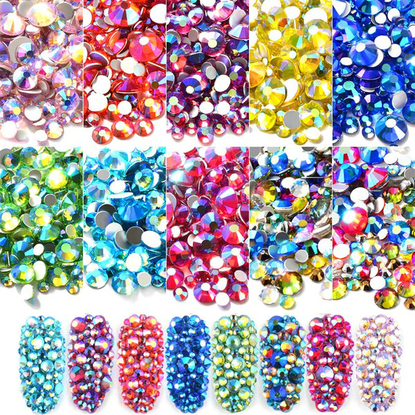 best selling Mixed Size AB Colorful Crystal Nail Art Rhinestones Non Hotfix Flatback Glass Stones 3d Glitter Decorations Gems for DIY Nails