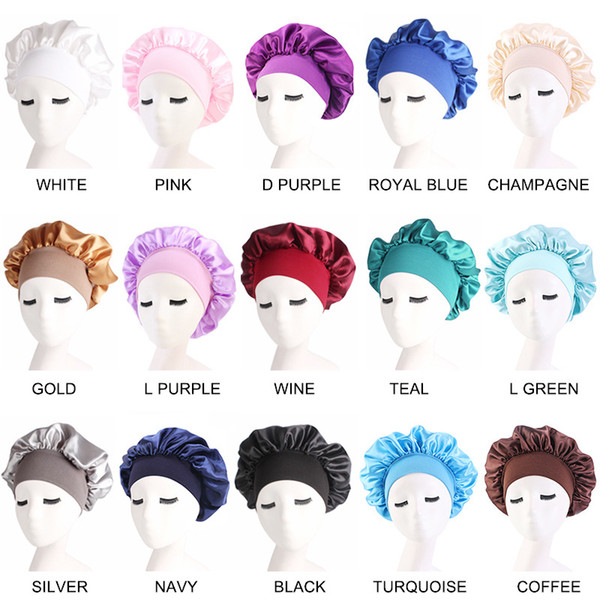 top popular Night Sleep Hat Hair Care Cap Women womens designer hats Fashion Satin Bonnet cap Silk Head Wrap Hair Loss Caps Accessories 2021