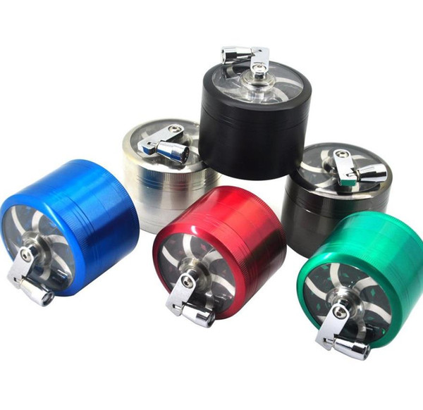 top popular tobacco grinder 50mm 4layers Zicn alloy hand crank tobacco grinders metal grinders for herbs herbal grinders for tobacco Towel 2021