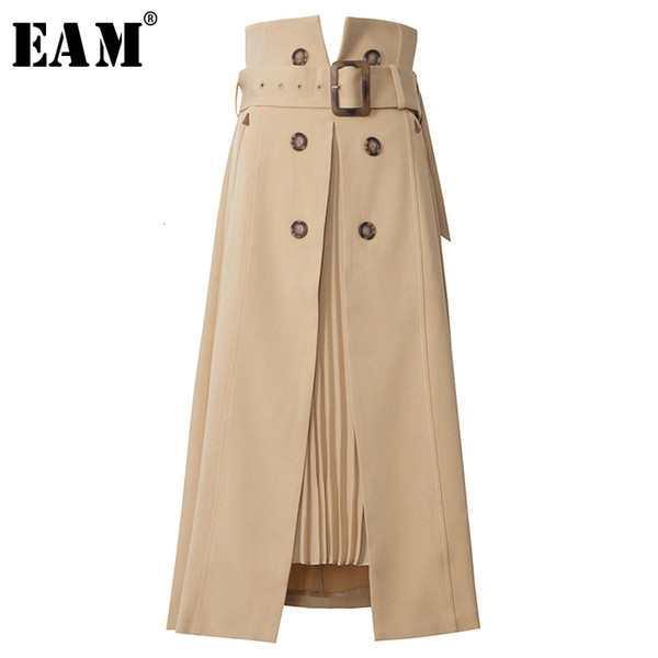 eam] high waist brown bandage asymmetrical pleated temperament half-body skirt women fashion tide new spring autumn 2021 1s464 cx200704, Black