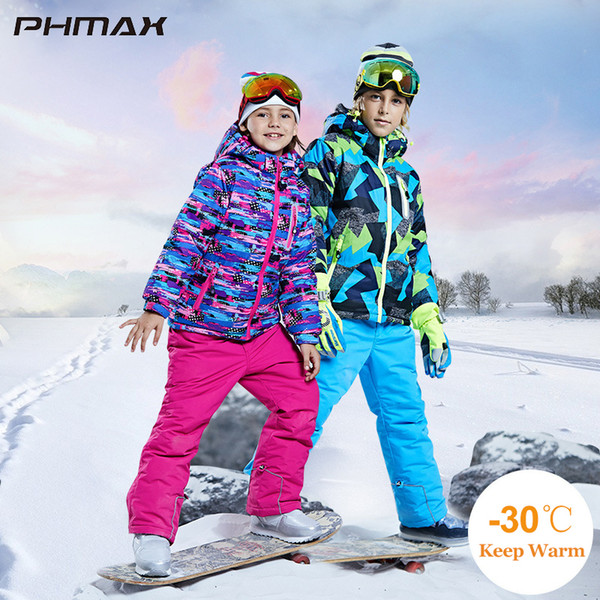 top popular PHMAX Ski Jacket Kids Winter Ski Suit Windproof Thermal Snowboard Pants Sets Outdoor Sports Skiing Children Warm Jacket Set 201203 2021
