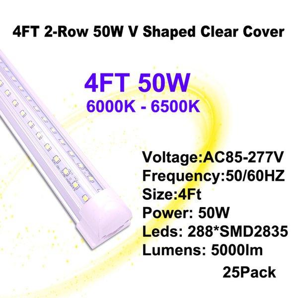 4 피트 50W 클리어 커버 V - 모양의 LED 튜브