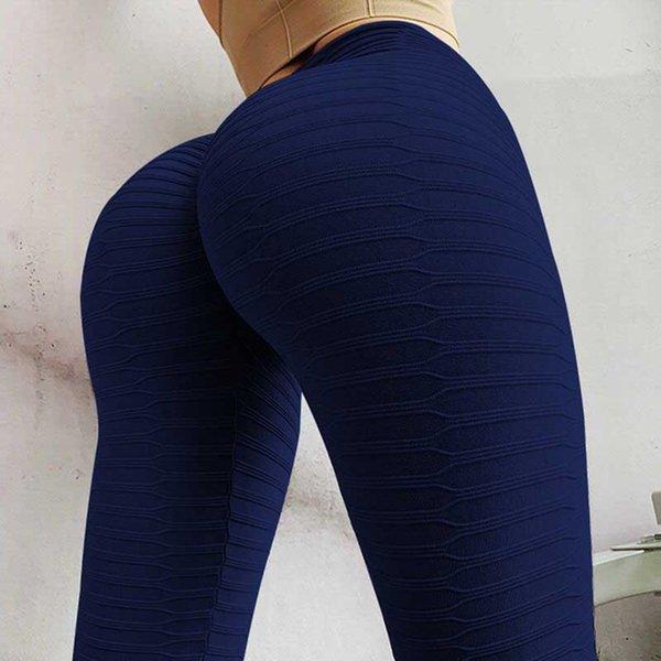 Blaue Leggings.