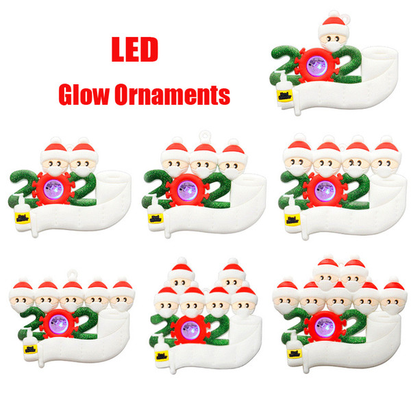 best selling 2020 LED Lighting Christmas Ornament DIY Greeting Survivor Family Quarantine Xmas Birthday Party Pandemic New Year Tree Pendant 2021 Glow