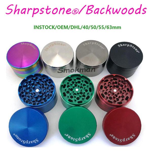 top popular 100%positive feedback High Quality Sharpstone Backwoods Dry Herb Tobacco Big Metal Grinders 40 50 55 63mm Zinc Alloy 3types 4Layers OEM logo 2021