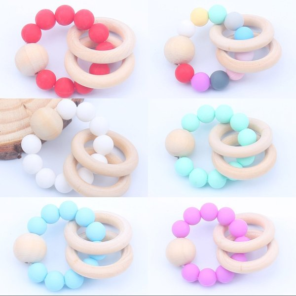 top popular Silicone Teethers Toy Children Wooden Heath Gutta Percha Bead Bracelet Fashion Baby Molar Toys Hot Sale 4bq K2 2020