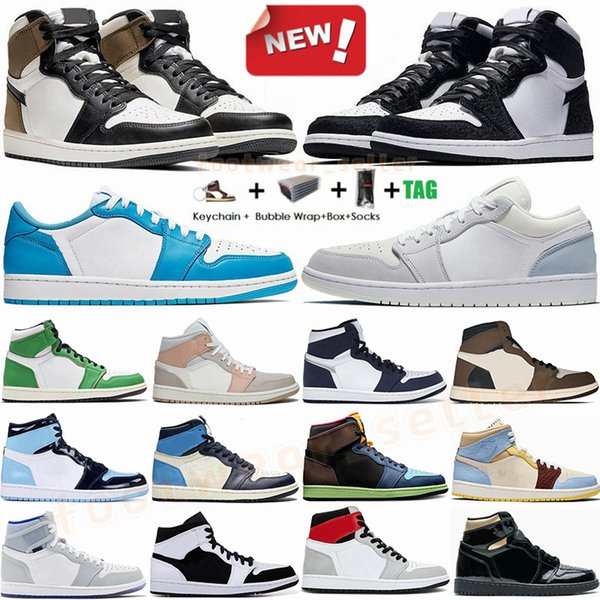 best selling 1s High Travis Scotts Low Paris Dark Mocha 1 Mens Basketball Shoes UNC Obsidian Womens Sport Sneakers Jumpman Trainers With Box Eur 36-47
